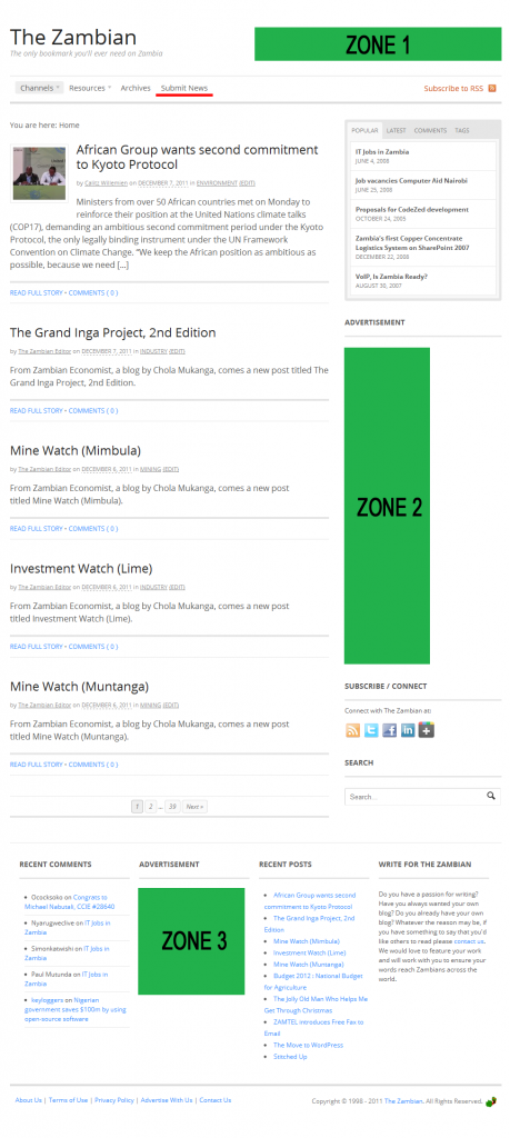 The Zambian Home Page Advertising Zones
